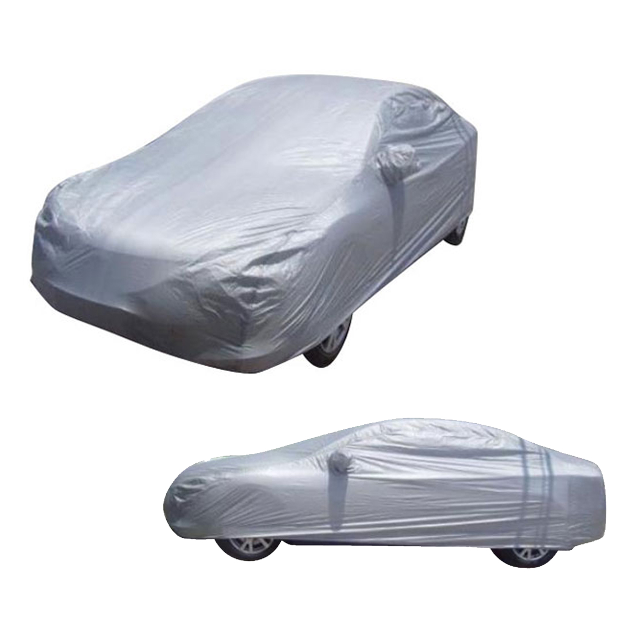 Details About Universal Outdoor Windproof Waterproof Sun Protection Full Car Cover Silver Gray